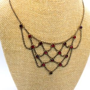 1928 Gun Metal and Red Stone Bib Style Necklace